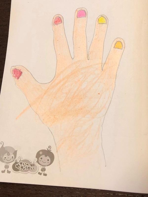 爪を描き色を塗る